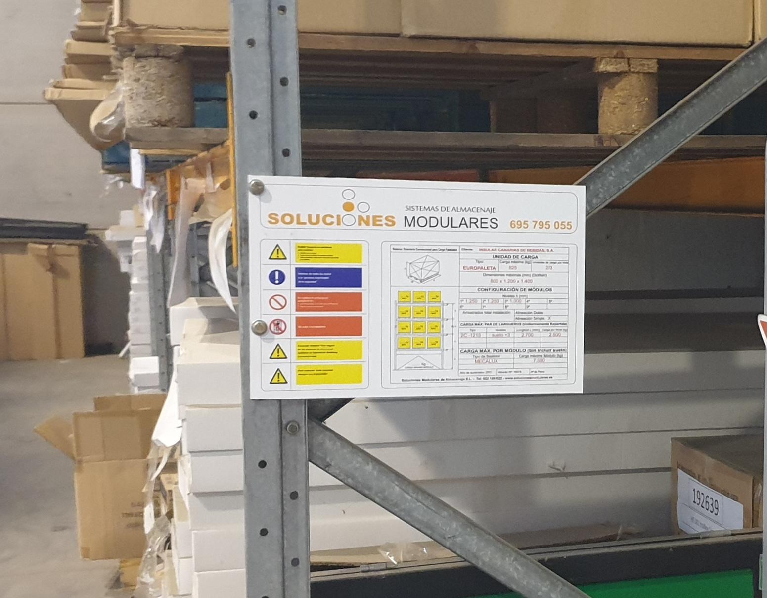 Placa estanterías industriales